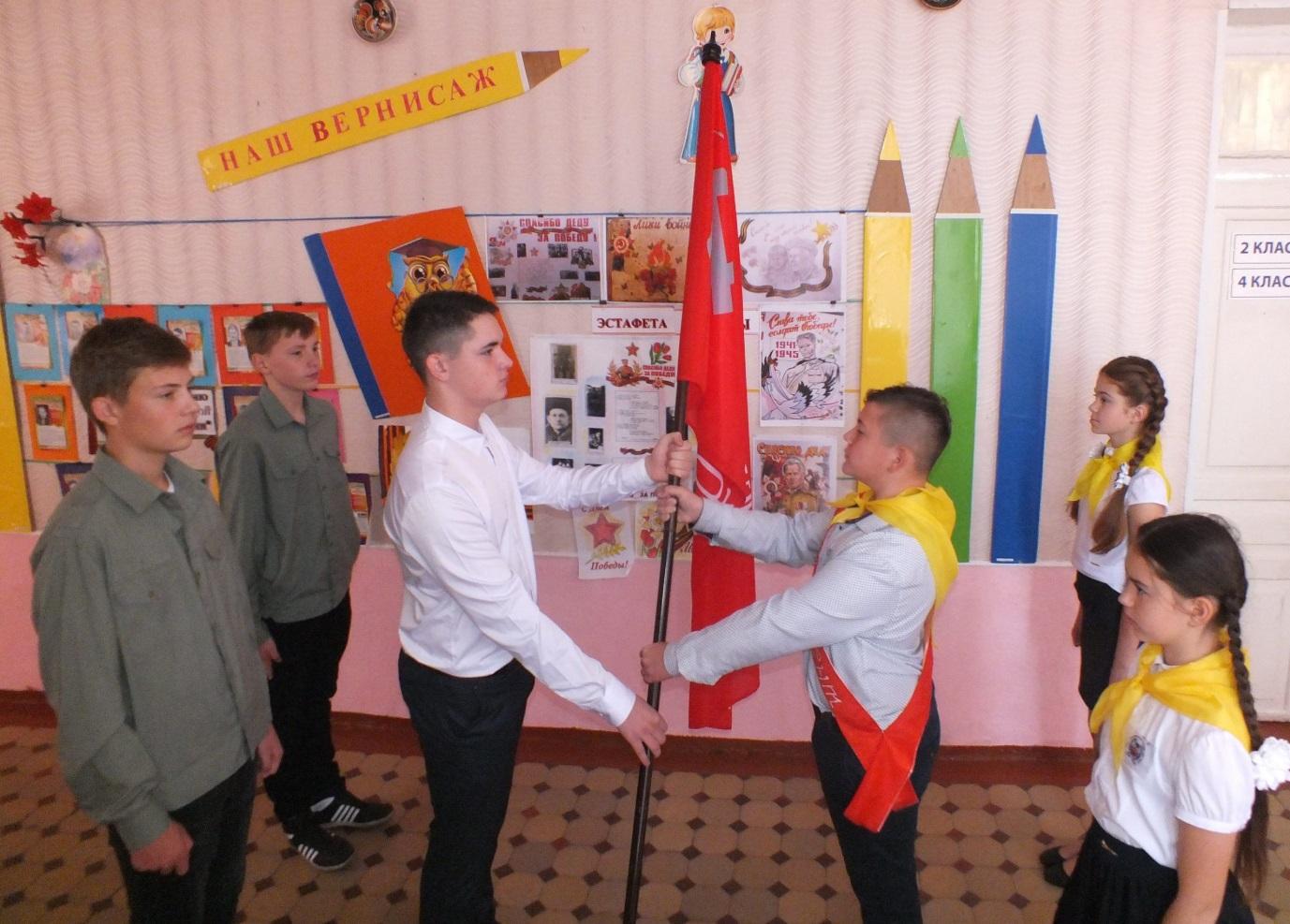 В селе Самсоновка Краснодонского района состоялась торжественная церемония передачи копии Знамени Победы 1