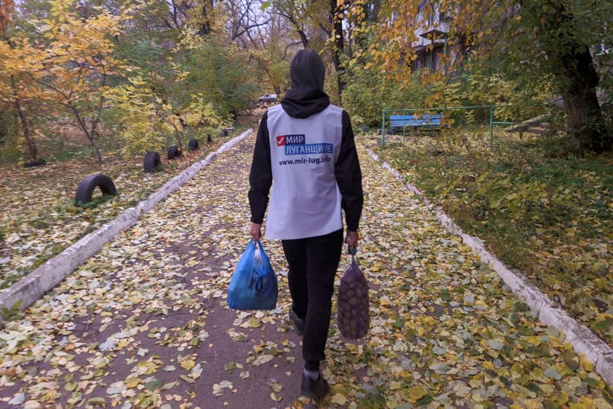 Волонтёры доставили жительнице Стаханова продукты питания и медикаменты